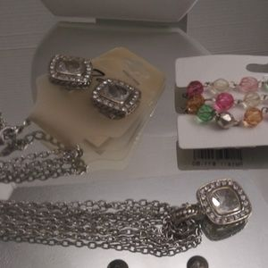 NWT TAMINA NECKLACE CLIP ON EARRINGS & BRACELET